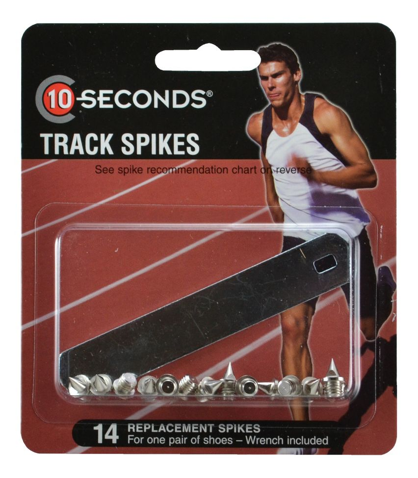 "10 SECONDS® TRACK SPIKES 1/4"" PYRAMID (6mm) 14 pack  ::  Dig in, getting ferocious traction and durability from these awesome 10 Seconds® Track Spikes. You'll appreciate the unbeatable long-lasting wear of these spikes that are heat tested for maximum durability. Plus, you're sure to get maximum traction no matter where your training takes you because these 10 Seconds® Spikes can be used on all surfaces, including asphalt, synthetic and natural."