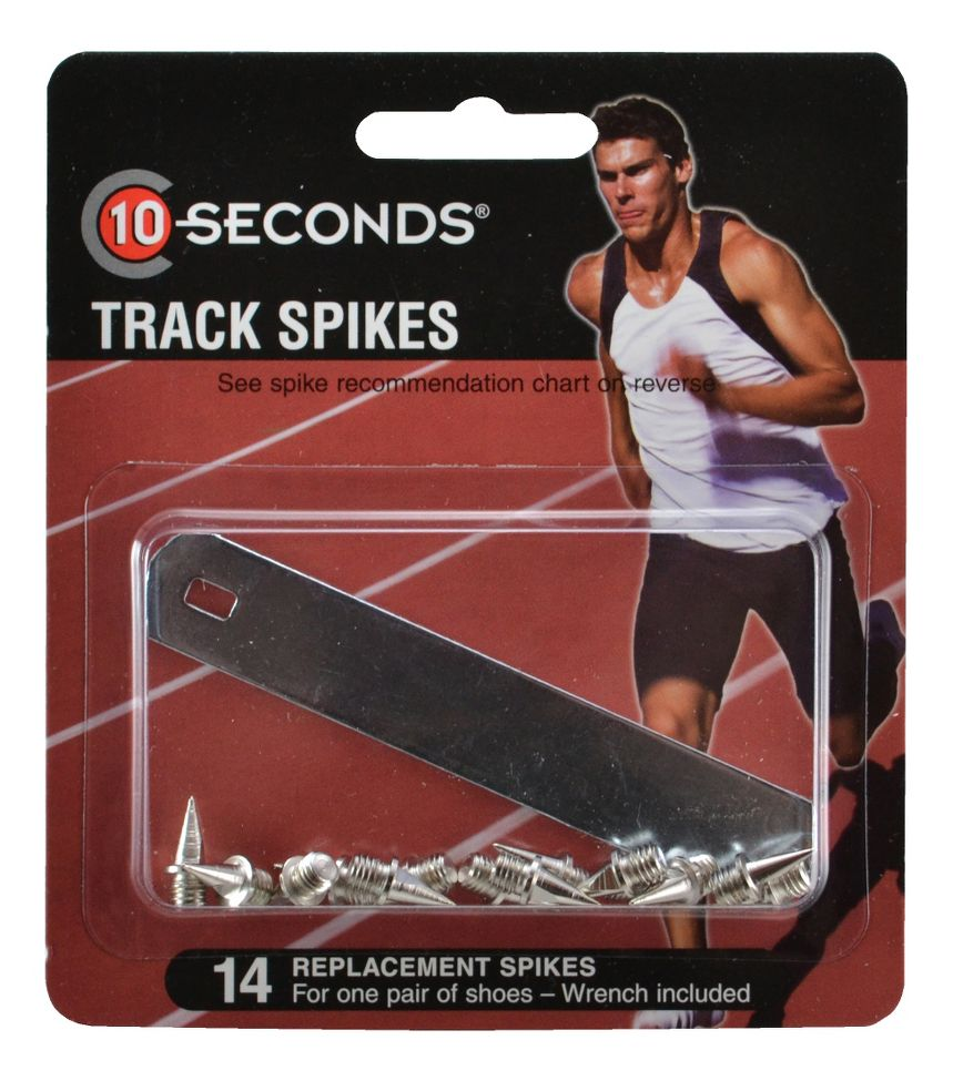"10 SECONDS® TRACK SPIKES 3/8"" PYRAMID (9mm) 14 pack  ::  Dig in, getting ferocious traction and durability from these awesome 10 Seconds® Track Spikes. You'll appreciate the unbeatable long-lasting wear of these spikes that are heat tested for maximum durability. Plus, you're sure to get maximum traction no matter where your training takes you because these 10 Seconds® Spikes can be used on all surfaces, including asphalt, synthetic and natural."