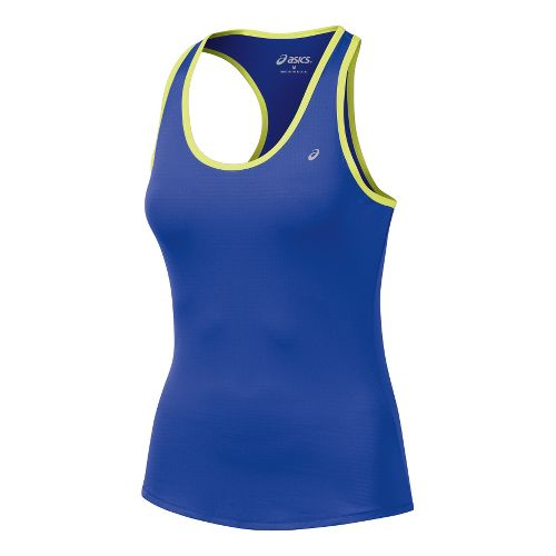 Womens ASICS Emma Racerback Tanks Technical Tops - Dazzling Blue/Sunny Lime M