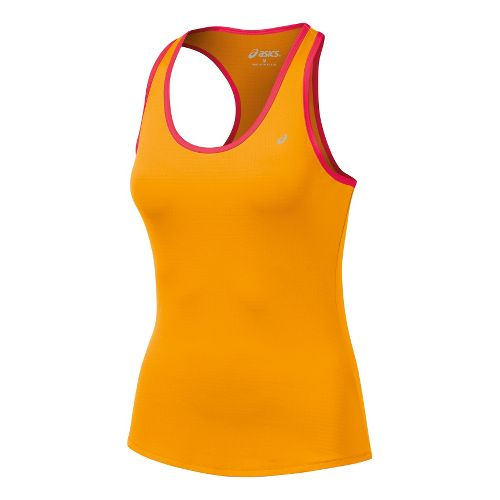 Womens ASICS Emma Racerback Tanks Technical Tops - Orange/Formula Red L