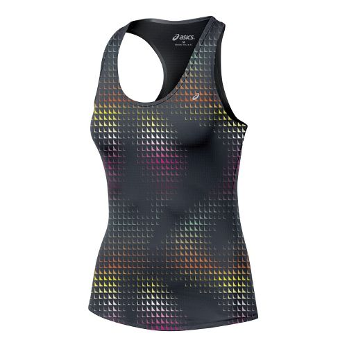 Womens ASICS Emma Racerback Tanks Technical Tops - Steel/Print S