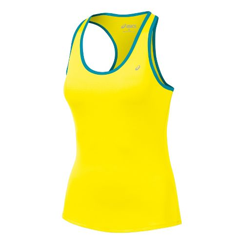 Womens ASICS Emma Racerback Tanks Technical Tops - Vivid/Enamel L
