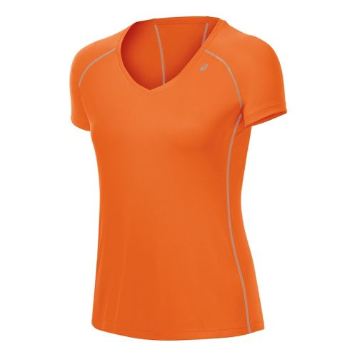 Womens ASICS Lite-Show Favorite Short Sleeve Technical Tops - Orange Burst M