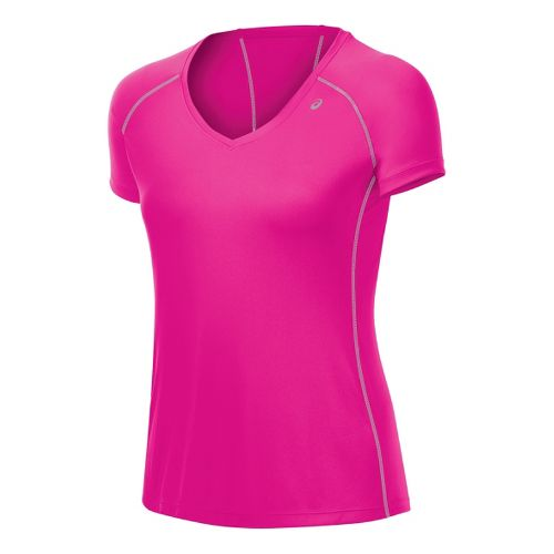 Womens ASICS Lite-Show Favorite Short Sleeve Technical Tops - Pink Shock L