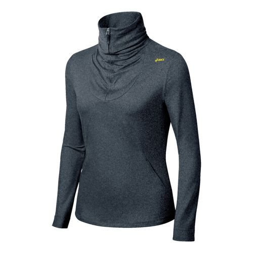 Womens ASICS Thermopolis LT Long Sleeve 1/2 Zip Technical Tops - Heather Grey M