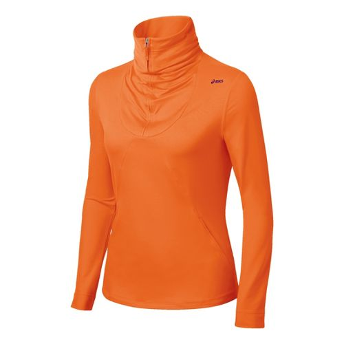 Womens ASICS Thermopolis LT Long Sleeve 1/2 Zip Technical Tops - Orange Burst XL