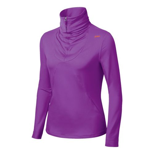 Womens ASICS Thermopolis LT Long Sleeve 1/2 Zip Technical Tops - Purple L