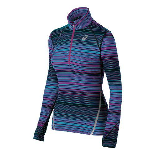 Womens ASICS Thermostripe Long Sleeve 1/2 Zip Technical Tops - Bondi Blue Stripe L