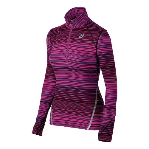 Womens ASICS Thermostripe Long Sleeve 1/2 Zip Technical Tops - Berry XL