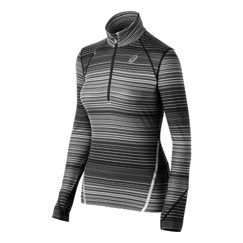 Womens ASICS Thermostripe Long Sleeve 1/2 Zip Technical Tops - Black/White XL