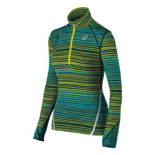 Womens ASICS Thermostripe Long Sleeve 1/2 Zip Technical Tops - Bright Lime L