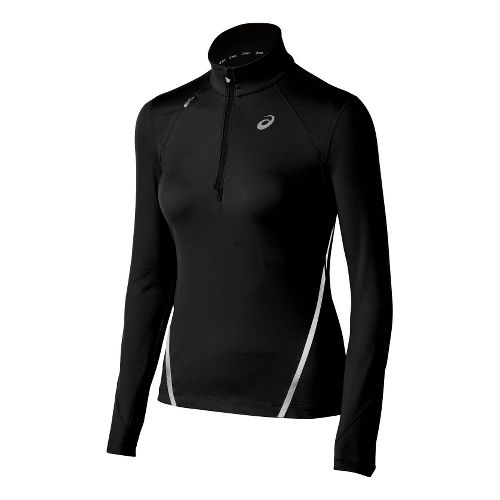 Womens ASICS Thermopolis LT Long Sleeve 1/2 Zip Technical Tops - Black L