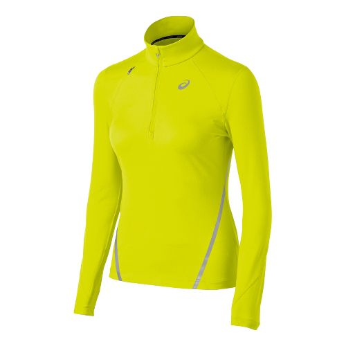 Womens ASICS Thermopolis LT Long Sleeve 1/2 Zip Technical Tops - Bright Lime L