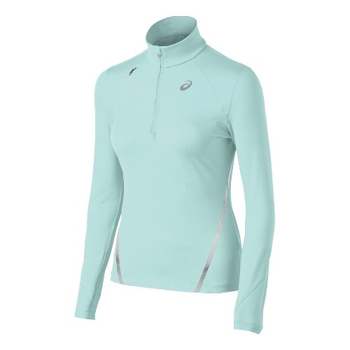 Womens ASICS Thermopolis LT Long Sleeve 1/2 Zip Technical Tops - Crystal Blue XS