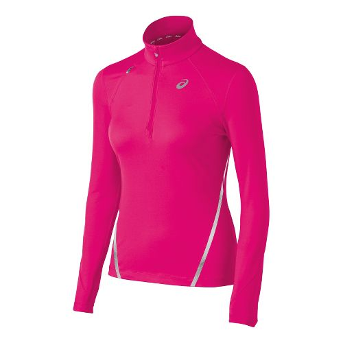 Womens ASICS Thermopolis LT Long Sleeve 1/2 Zip Technical Tops - Magenta XL