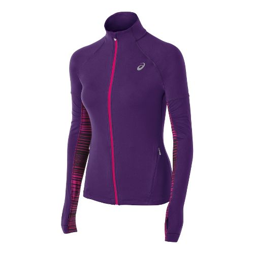 Womens ASICS Thermopolis LT Long Sleeve Full Zip Technical Tops - Berry XS