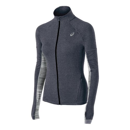 Womens ASICS Thermopolis LT Long Sleeve Full Zip Technical Tops - Heather Iron XS