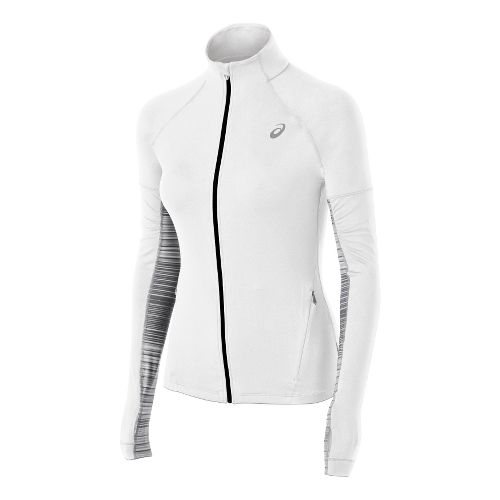 Womens ASICS Thermopolis LT Long Sleeve Full Zip Technical Tops - White XL