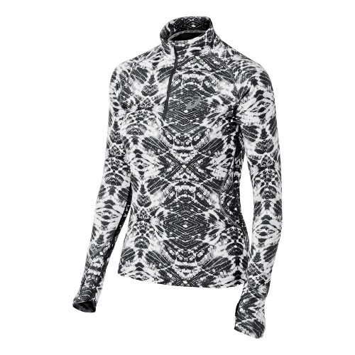 Womens ASICS Lite-Show Favorite Long Sleeve 1/2 Zip Technical Tops - Black/White L