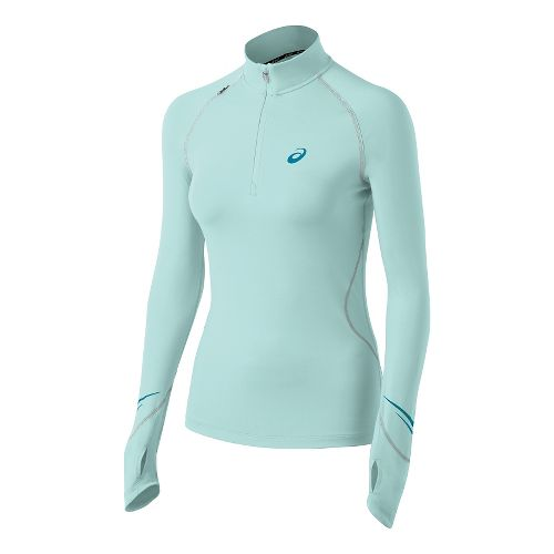 Womens ASICS Lite Show Favorite Long Sleeve 1/2 Zip Technical Tops - Crystal Blue M ...