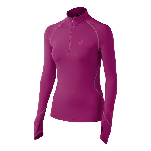 Womens ASICS Lite Show Favorite Long Sleeve 1/2 Zip Technical Tops - Orchid M