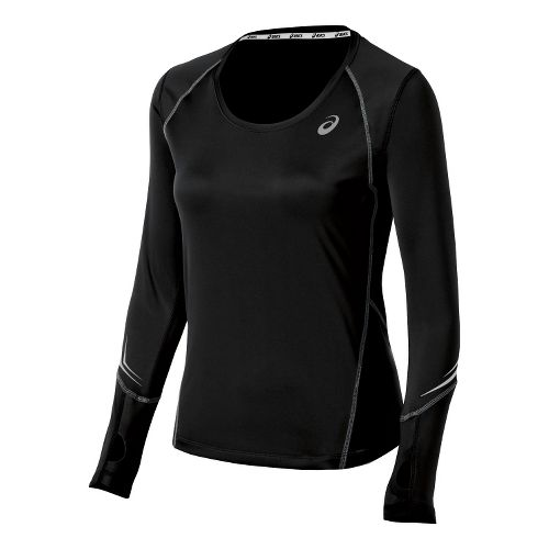 Womens ASICS Lite Show Favorite Long Sleeve No Zip Technical Tops - Black XL