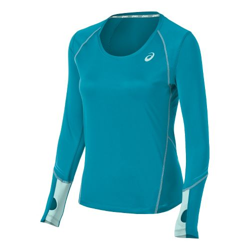 Womens ASICS Lite Show Favorite Long Sleeve No Zip Technical Tops - Bondi Blue S ...