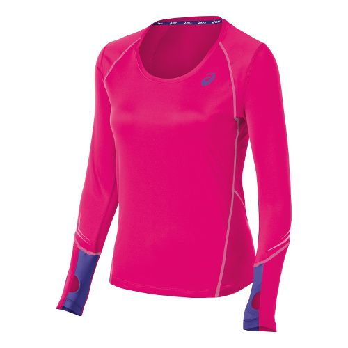 Womens ASICS Lite Show Favorite Long Sleeve No Zip Technical Tops - Magenta L