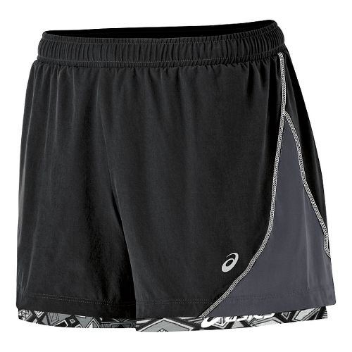 Womens ASICS Lite Show Versatility Lined Shorts - Black/Steel L