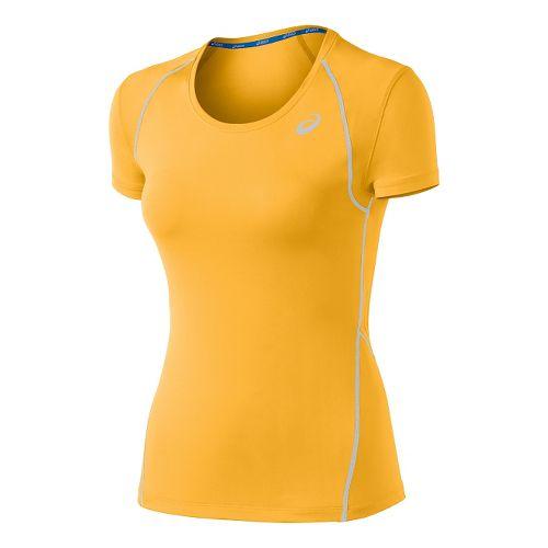 Womens ASICS Lite Show Favorite Short Sleeve Technical Tops - Peach XS