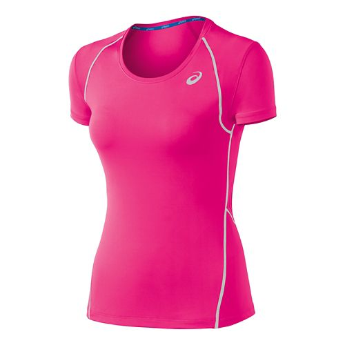 Womens ASICS Lite Show Favorite Short Sleeve Technical Tops - Pink XL