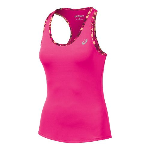 Womens ASICS Emma Racerback Singlets Technical Tops - Pink/Fizzy Collage L