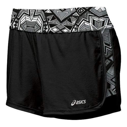 Womens ASICS Everysport Unlined Shorts - Black/Print L