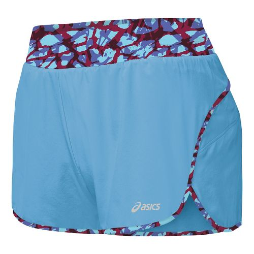Womens ASICS Distance Lined Shorts - Natural Blue S