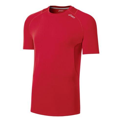 Mens ASICS Favorite Short Sleeve Technical Tops - Formula Red XL