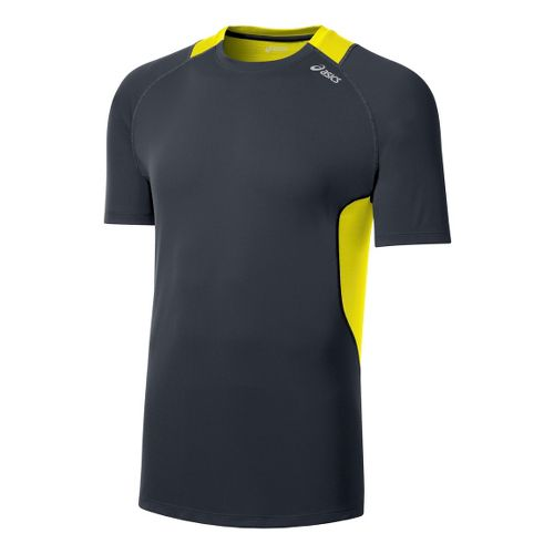 Mens ASICS Favorite Short Sleeve Technical Tops - Steel/Neon Yellow M