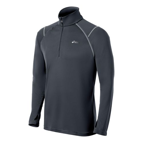 Mens ASICS Lite-Show Favorite 1/2 Zip Technical Tops - Steel S