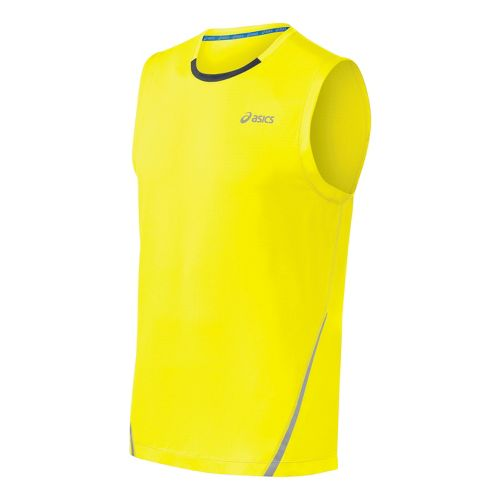 Mens ASICS PR Lyte Sleeveless Technical Tops - Yellow/Steel L