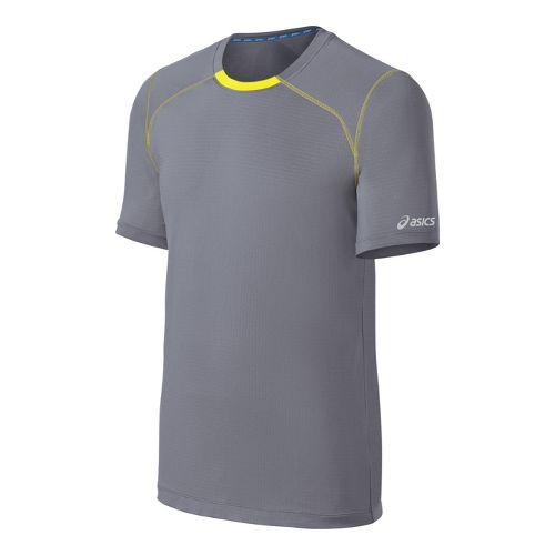 Mens ASICS PR Lyte Short Sleeve Technical Tops - Grey/Yellow L