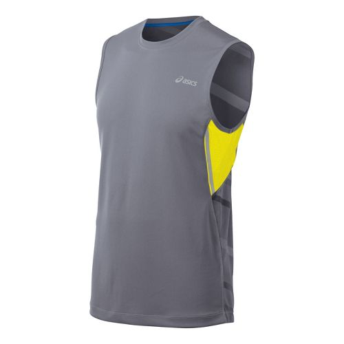 Mens ASICS Gradiant Sleeveless Technical Tops - Grey/Yellow M