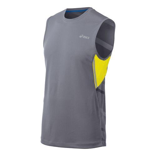 Mens ASICS Gradiant Sleeveless Technical Tops - Grey/Yellow XL