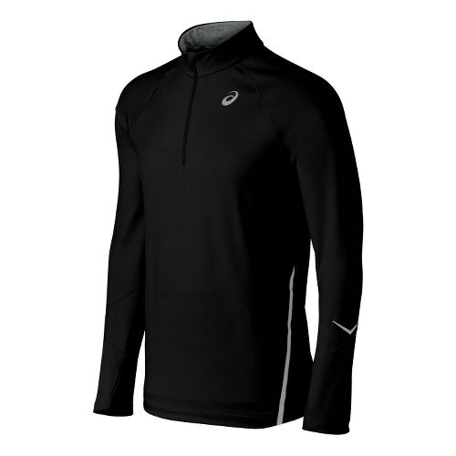 Mens ASICS Thermopolis LT Long Sleeve 1/2 Zip Technical Tops - Black XL