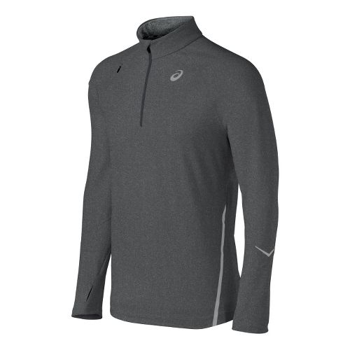 Mens ASICS Thermopolis LT Long Sleeve 1/2 Zip Technical Tops - Dark Grey L