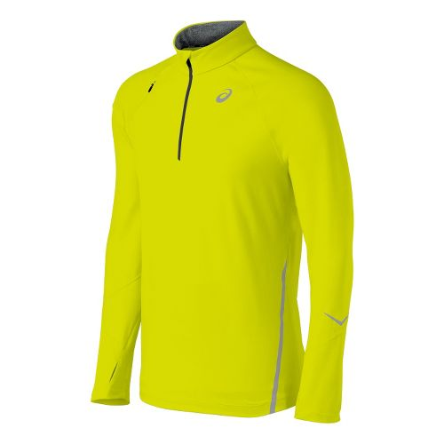 Mens ASICS Thermopolis LT Long Sleeve 1/2 Zip Technical Tops - Electric Lime L
