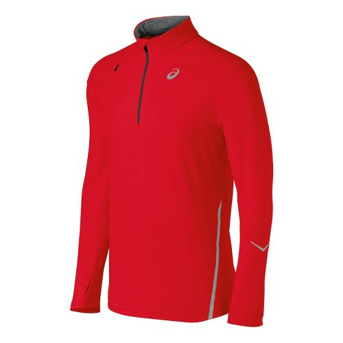 Mens ASICS Thermopolis LT Long Sleeve 1/2 Zip Technical Tops - Red Heat S