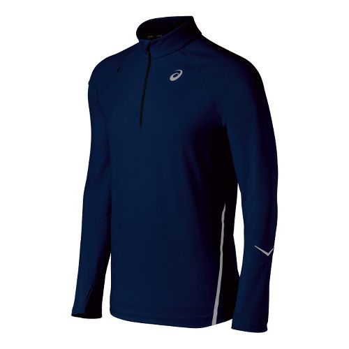 Mens ASICS Thermopolis LT Long Sleeve 1/2 Zip Technical Tops - True Navy S