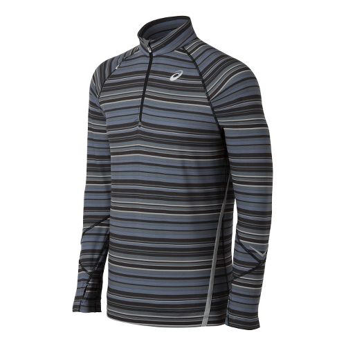 Mens ASICS Thermostripe 1/2 Zip Technical Tops - Black/Steel XL