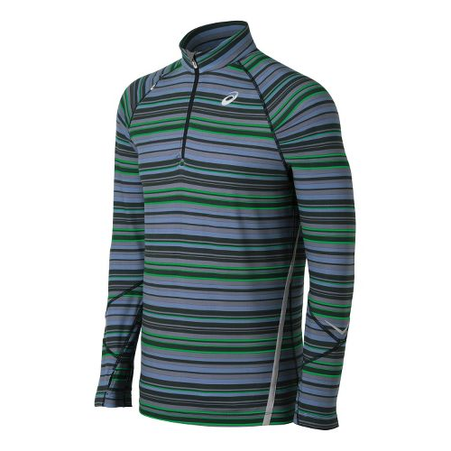 Mens ASICS Thermostripe 1/2 Zip Technical Tops - Dark Grey/Green L