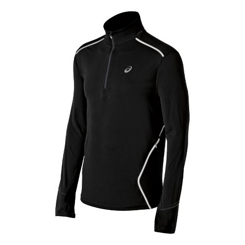 Mens ASICS Lite-Show Favorite Long Sleeve 1/2 Zip Technical Tops - Black S