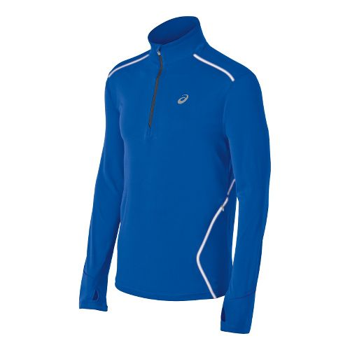 Mens ASICS Lite-Show Favorite Long Sleeve 1/2 Zip Technical Tops - Blue S